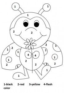 Color by number ladybug worksheet for kids Colorful worksheets are the best way to make kindergarten and preschool kids eager to learn. You can practice numbers and colors by this number ladybug worksheet. Kindergarten Colors, Preschool Colors, Numbers Preschool, Kindergarten Worksheets, Worksheets For Kids, Number Worksheets, Color Activities, Preschool Activities, Colouring Pages
