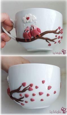 Декор чашки полимерной глиной