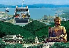 Ngong ping 360 cable cars with the Buddha. An adventure involving high winds, pouring rains, thunderstorms, bouncy buses and two bus sick boys Sick Boy, Victoria Harbour, Hongkong, Outdoor Cafe, China Travel, Shenzhen, Travel Agency, Where To Go, Statue Of Liberty