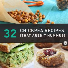 32 Simply Brilliant Ways to Use Chickpeas / Garbanzos (That Aren't Hummus). These recipes look goooooood! Chickpea Recipes, Veggie Recipes, Whole Food Recipes, Vegetarian Recipes, Healthy Recipes, Chickpea Salad, Edamame Salad, Chickpea Ideas, Recipes With Chickpeas