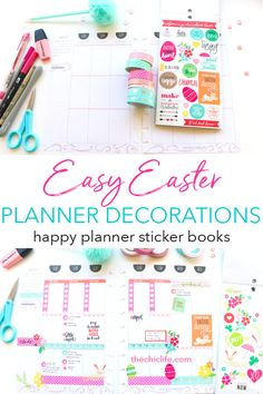 Plan with Me Easter Theme Erin Condren Life Planner, Blog Planner, Happy Planner, Printable Planner, Planner Stickers, Printables, Sticker Books, Easter Stickers, Planner Dashboard