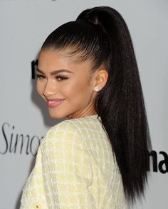 Zendaya at Marie Claire Hosts 'Fresh Faces' Party Celebrating May Issue Cover Stars Ponytail Hairstyles, Weave Hairstyles, Straight Hairstyles Prom, Zendaya Hairstyles, Teen Hairstyles, Girl Haircuts, Men's Hairstyle, Hairstyle Ideas, Hair Ideas