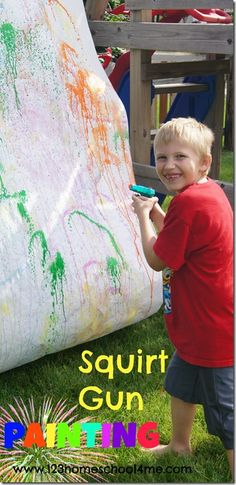 Squirt Gun Painting - what a fun summer kids activity. Lots of great ideas here for my Summer Bucket List! Squirt Gun Painting - what a fun summer kids activity. Lots of great ideas here for my Summer Bucket List! Summer Activities For Kids, Art Activities, Outdoor Activities, Painting For Kids, Art For Kids, Projects For Kids, Crafts For Kids, Art Projects, Summer Fun For Kids