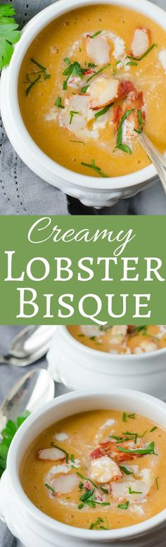 This recipe for Creamy Lobster Bisque From Scratch is a delicious start to a special meal. Lighter than a traditional bisque, too! A lighter version of the classic soup! This velvety bisque is a delicious starter to any special meal! Lobster Recipes, Fish Recipes, Seafood Recipes, Soup Recipes, Dinner Recipes, Cooking Recipes, Cooking Tips, Cooking Classes, Holiday Recipes