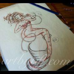 Mermaid Sketch by *tifftoxic