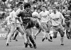 """Diego Maradona playing for the World XI against the Football League XI at Wembley, 1987."""