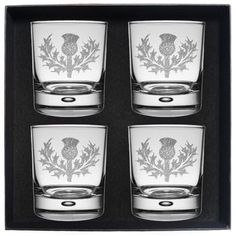 Set of 4 Whisky Tumbler Set Engraved with Clan Crest  . . Sold by TartanPlusTweed.com A family owned kilt and gift shop in the Scottish Borders