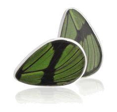 Aymara Green Tea Leaf Butterfly Cufflinks