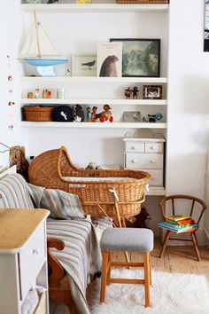 Open Shelving Makes Use Of Unused Corners - Tips For Stylish Small Space Nurseries - Photos