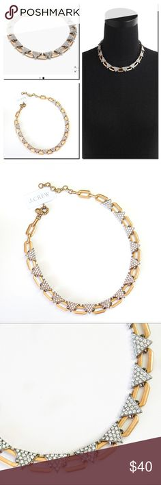 "J.Crew Crystal Triangle Gold Statement Necklace Brand new  Faceted to catch the light, geometric stones are a pretty way to approach an outfit from a new angle. Brass chain, zinc casting, glass stones. Rhodium and Russian gold plating.  -Length: 16"" with a 2"" extender chain for adjustable length. J. Crew Jewelry Necklaces"