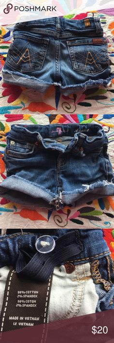 7 for all mankind girls cutoff denim shorts Size 4 7for all mankind cutoff shorts for a little girl size 4. Makes me so sad that my little girl is growing up:( super cute shorts for a little cutie 7 For All Mankind Bottoms Shorts