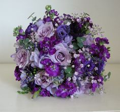 white flowers used in wedding bouquets bridal flowers - Wedding Flowers & Bouquet Ideas Purple Flower Bouquet, Purple Wedding Bouquets, Bridal Flowers, Flower Bouquet Wedding, Shade Flowers, Purple Flowers, Floral Wedding, Bridal Bouquets, Trendy Wedding