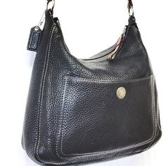 COACH black pebbled leather Handbag Very gently worn. GREAT condition!! Minor leather aging. Pebbled leather bucket bag. BLACK Coach Bags