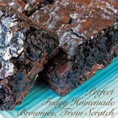 The Best Fudgy Homemade Brownies, From Scratch Recipe Desserts with Dutch-processed cocoa powder, baking soda, butter, boiling water, sugar, large eggs, pure vanilla extract, salt, flour, chocolate chips