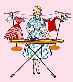 """Mid Century style Laundry Room print - Fashionista Ironing, on Etsy… Pink Laundry Rooms, Laundry Art, Laundry Humor, Desenho Pop Art, Images Vintage, 50s Vintage, Vintage Humor, Vintage Prints, Vintage Housewife"