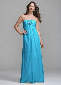 Strapless dress in long, flowing chiffon featuring ruched sweetheart neckline and removable flower detail. This is a style that is universally flattering on all body shapes, and one that is sure to be worn again and again. Fully lined. Imported polyester. Hand wash or dry clean.  To protect your dress, try our Non Woven Garment Bag.