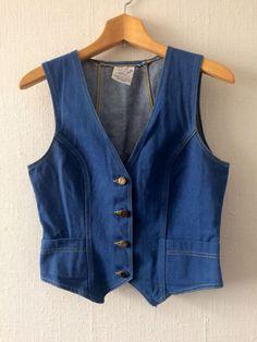 Ladies vintage denim vest fitted tailoring 1960s 1970s