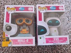 These are the common Funko pops Wall-E and Eve. Some shelfwear but still in good condition. Please see pics. Any questions, feel free to ask! Pop Bobble Heads, Wall E Eve, Funko Pop Anime, Funko Pop Dolls, Custom Funko Pop, Pop Figurine, Funk Pop, Pop Toys, Pop Characters