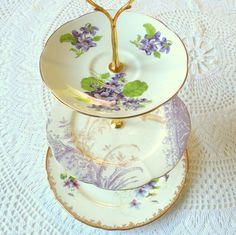 purple teacup trio   Purple Fairy, Vintage China Tiered Jewelry Stand Display or Mini Tea ...