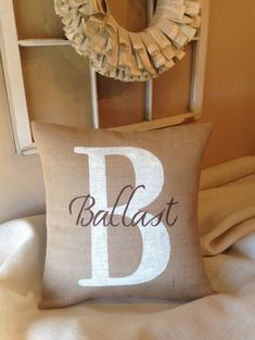 Burlap Pillow Cover,  Decorative Pillow, Personalized Pillow, Monogrammed Pillow, Throw Pillow, Wedding Pillow on Etsy, $29.00