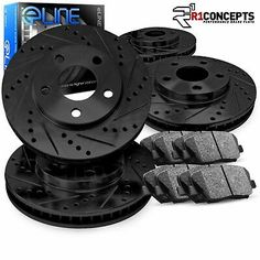 Front Rear Set Drill Slotted Rotors Brake Pad Fits 10-12 Chrysler Town /& Country