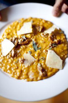 Butternut pumpkin risotto with walnuts & sage