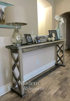 Rustic farmhouse entryway table by ModernRefinement on Etsy #rusticsofatable
