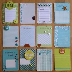 Scrapbook journal cards + embellishments.                                                                                                                                                                                 More