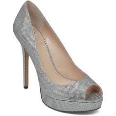 VINCE CAMUTO Open Toe Platform Pumps - Lorim Glitter ($139) ❤ liked on Polyvore featuring shoes, pumps, heels, silver, silver high heel shoes, silver heel pumps, open-toe pumps, heels & pumps and silver platform pumps
