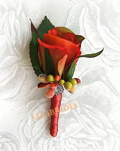 $17.00  Fall weddings men boutonniere persimmon burnt orange rose CHANGE TO BURGUNDY RIBBON