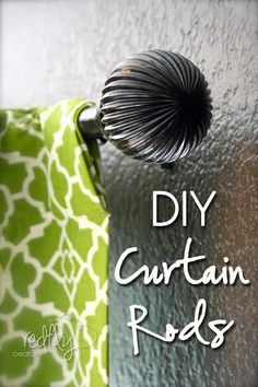 DIY curtain rods for under 5 bucks!   Great idea! Maybe use drawer pulls for the…