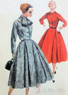 50s Lovely 2 Pc Suit Simplicity 1762 Vintage by SoVintageOnEtsy