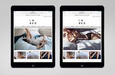 Website for online linen retailer In Bed designed by Moffitt.Moffitt