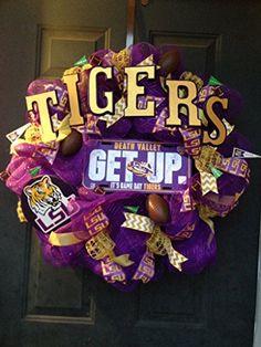 New Handmade LSU Tigers Deco Mesh Wreath Handmade https://www.amazon.com/dp/B00MGCLB44/ref=cm_sw_r_pi_dp_BeRzxbPK9NXPK