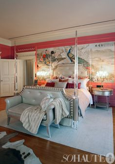 from a showhouse, probably the most amazing bed ever---Lucite posts, gorgeous color scheme