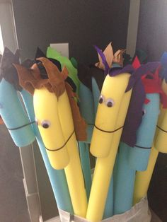 Swim noodle horses! Getting ready for a themed birthday party