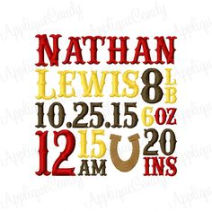Custom Digitized Western Horseshoe Subway Art Birth Announcement Personalized Embroidery Design 4x4 5x5 6x6  (NOT Instant Download) by AppCandyEmbroidery on Etsy