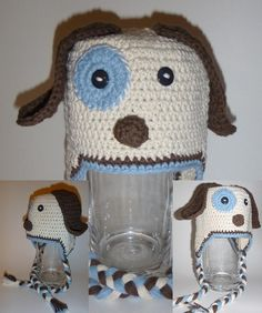 Pepe the Puppy Animal Hats, Crochet For Kids, Infant, Crochet Hats, Puppies, Children, Unique, Handmade, Character