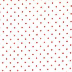 RED Polka Dot Fabric  Remnant 7/8 Yard  Moda by Jambearies on Etsy
