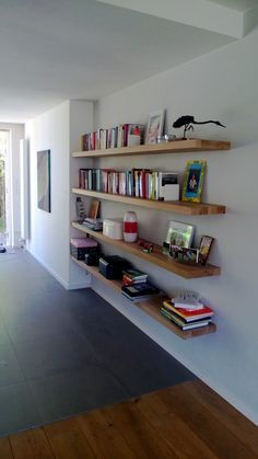 Marvelous Tips: How To Build Floating Shelves Home floating shelves bookcase apartment therapy.Floating Shelf Tv Stand Ikea Hacks how to build floating shelves cabinets. Floating Storage Shelves, Floating Shelf Under Tv, Shelves Under Tv, Floating Shelves Bedroom, Wooden Floating Shelves, Floating Shelves Kitchen, Rustic Floating Shelves, Floating Shelf Brackets, Room Shelves