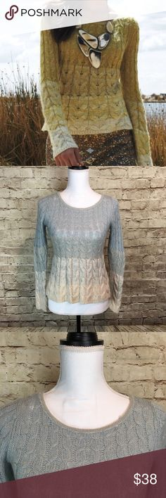 "Sparrow Anthropologie Ombré Wool Sweater Size M Measurements ( across laying flat) Length: 20"" Waist: 14"" Armpit to Armpit: 14"" Excellent condition! Blue and Cream ombré cable knit sweater Anthropologie Sweaters Crew & Scoop Necks"