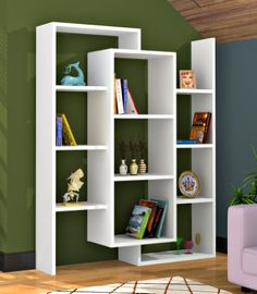 £109.90 Luce - White/Walnut Bookcase Office Shelf/Stand Shelf For Living Room in Modern Design