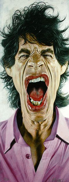 Painting by Sebastian Kruger Mick Jagger looks identical to his caricature in real life ! Cartoon Faces, Funny Faces, Cartoon Art, Funny Caricatures, Celebrity Caricatures, Mick Jagger, Sebastian Kruger, Georgia May Jagger, Caricature Drawing