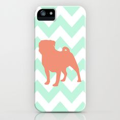 Coral Pug on Mint Chevron iPhone & iPod Case by Lexiphile - $35.00