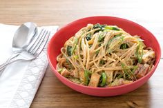 Whole Wheat Spaghetti Carbonara with Smoked Tofu & Pea Tips
