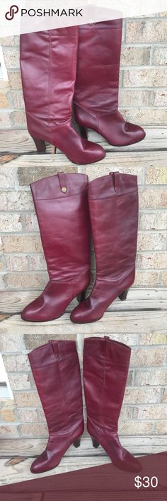 Vintage etienne aigner boots Vintage etienne aigner boots. Size 8.5. True Burgundy color. Leather is in great shape. Has very minor wear that is also hard to show in picture. These are really pretty boots. Please ask questions. Etienne Aigner Shoes Heeled Boots