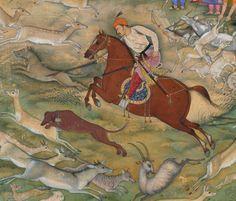 """Hamid Bhakari Punished by Akbar,"" Folio from an Akbarnama (detail), dated by…"