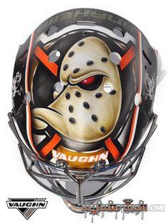 Anaheim's Anton Khudobin has teamed up with Sylvie Marsolais of SylaBrush to produce a sleek new mask design. Hockey Helmet, Hockey Goalie, Hockey Games, Ice Hockey, Football Helmets, Nhl, Duck Mask, Ducks Hockey, Hockey Boards