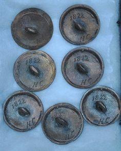 Seven Slave Buttons Marked T H Porter Dealer in Slaves Back Marked 1822 HC | eBay - $ 40.00