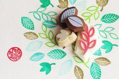 leaf hand carved rubber stamps. leaf plant stamps. by talktothesun